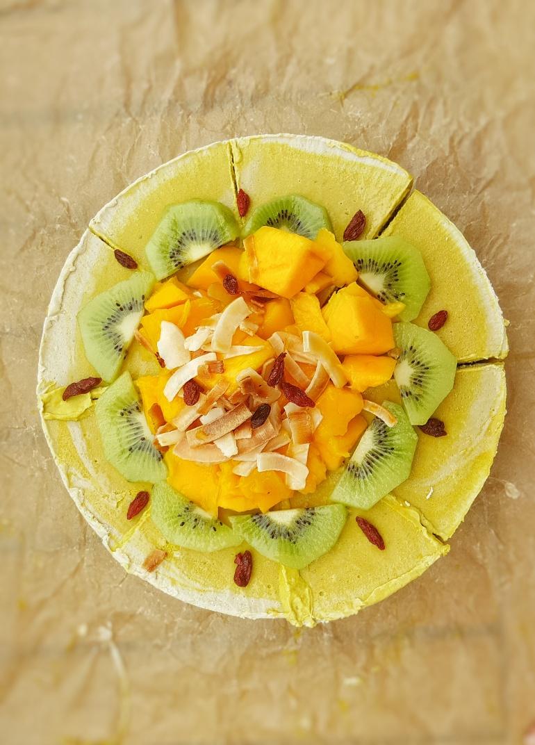 Vegan turmeric mango cheesecake