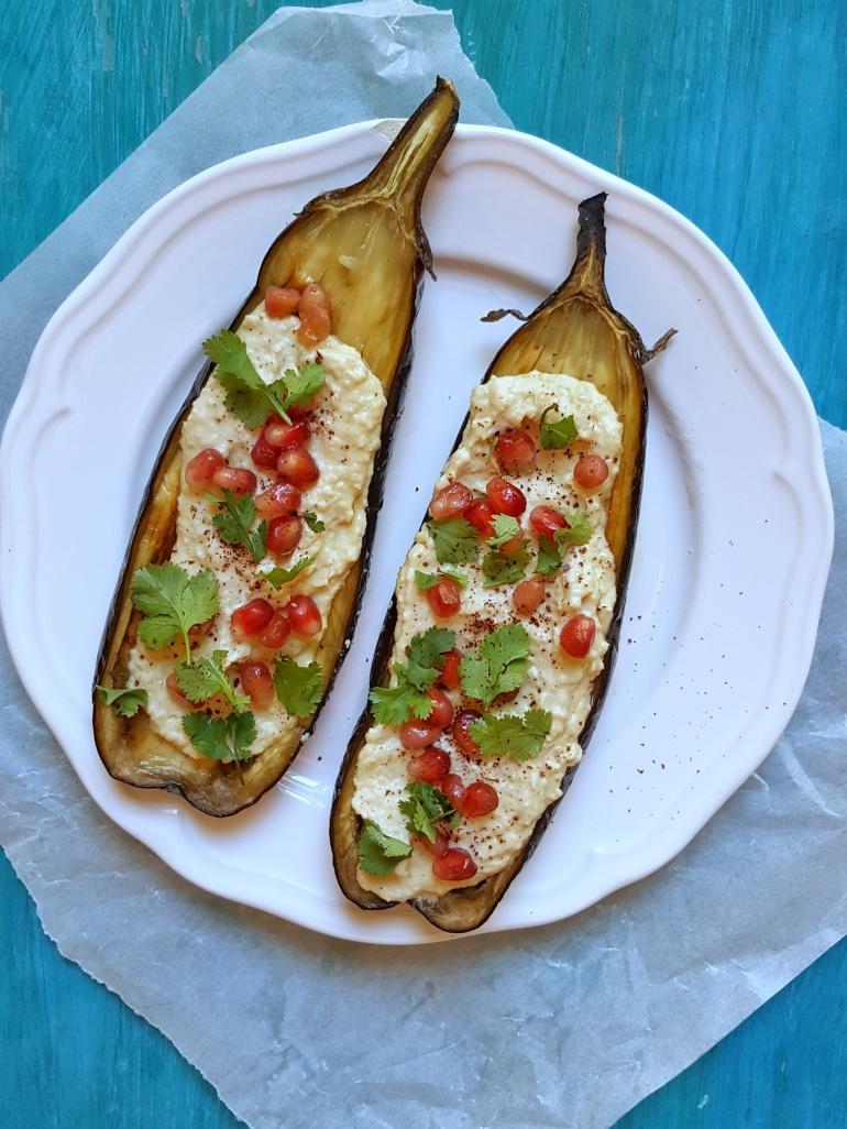 Hummus roasted eggplant StraightupBananas