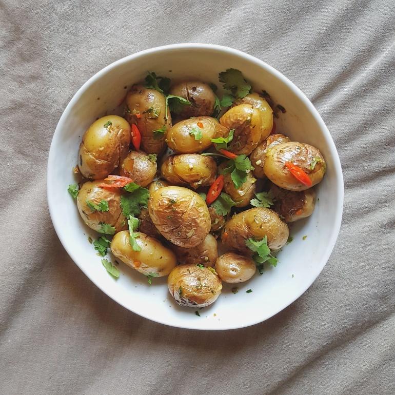 Roasted baby potato side dish straightupbananas